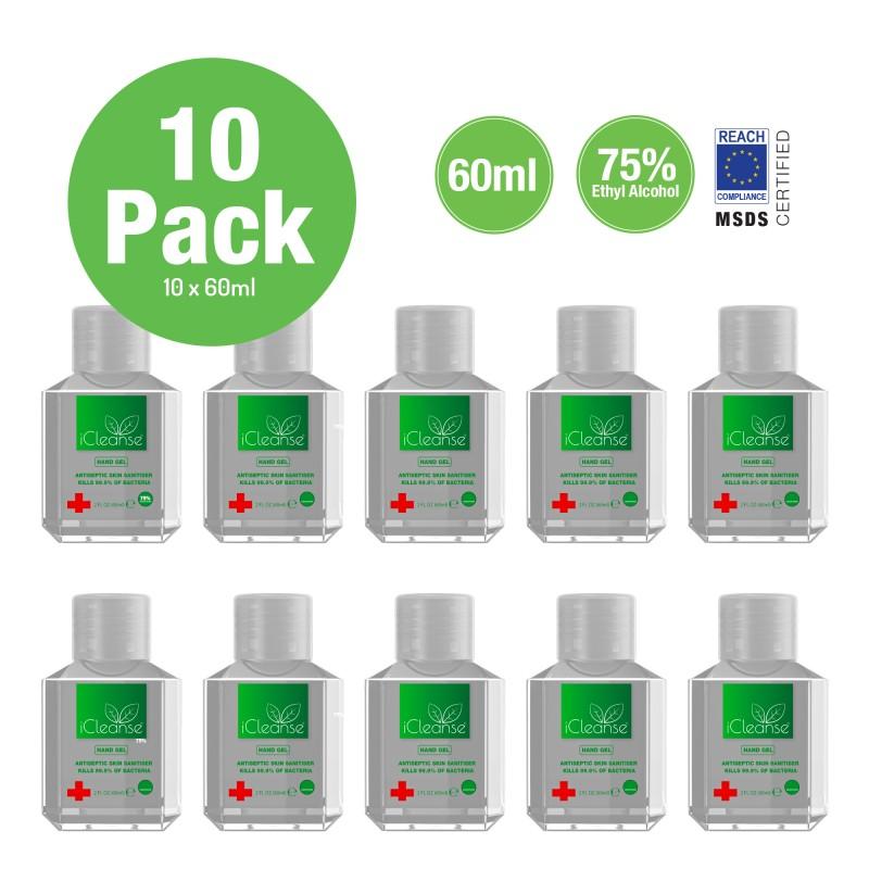 10 x iCleanse Antiseptic Hand Sanitiser Gel