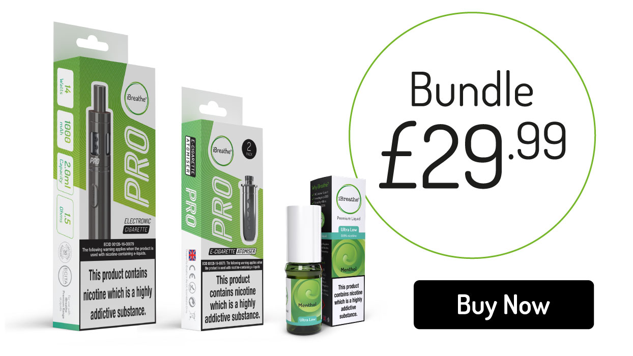 Pro eCigarette, 5 Atomiser Coils and 10ml Premium eLiquid - Only £29.99