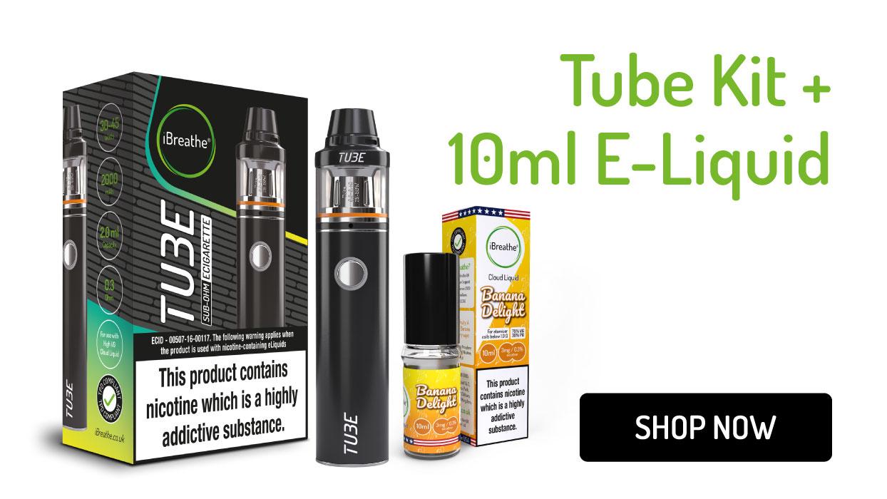 Tube Sub-Ohm E-Cigarette & 10ml E-Liquid   £24.99 + Free UK Delivery