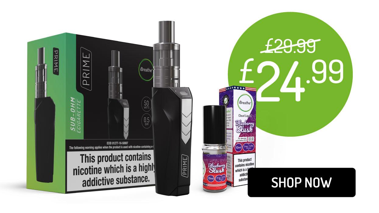Prime Sub-Ohm E-Cigarette & 10ml E-Liquid | £24.99 + Free UK Delivery