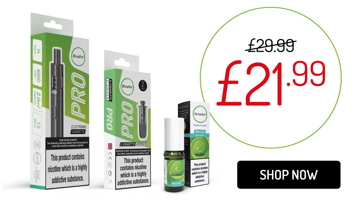 Pro eCigarette, 5 Atomiser Coils and 10ml Premium eLiquid - Only £29.99