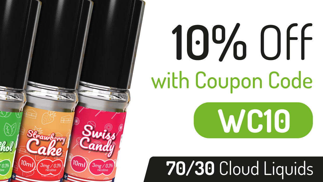 10% off 70/30 High VG Cloud E-Liquid + Free UK Delivery
